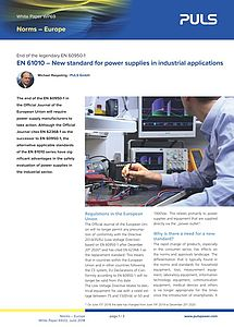 White paper: EN 61010 - New safety standard for industrial power supplies